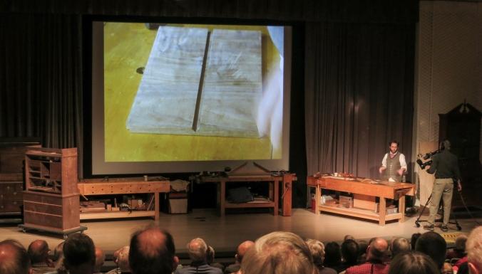 Bill Pavlak presenting on the Philadelphia scriptor stamped Edward Evans.