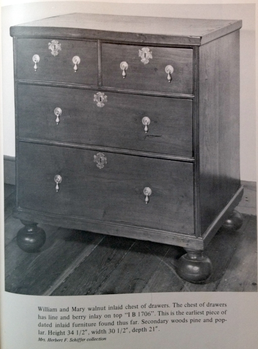 Chest of drawers, probably Philadelphia, 1706. Margaret Berwind Schiffer. The Furniture and Makers of Chester County. Philadelphia: University of Pennsylvania Press, 1966